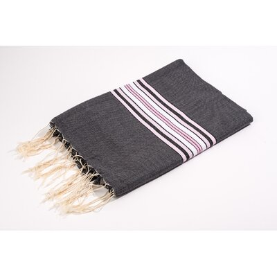 Fouta Canvas Bayadere Stripes Bath Towel Color: Black