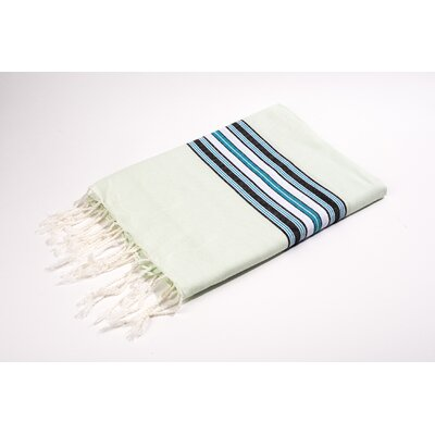 Fouta Canvas Bayadere Stripes Bath Towel Color: Mint
