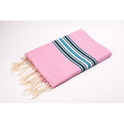 Fouta Canvas Bayadere Stripes Bath Towel Color: Rose
