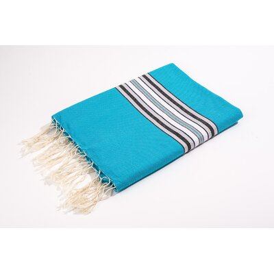 Fouta Canvas Bayadere Stripes Bath Towel Color: Turquoise