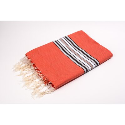 Fouta Canvas Bayadere Stripes Bath Towel Color: Tangerine