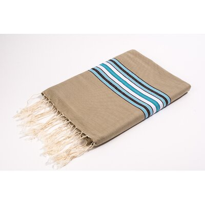 Fouta Canvas Bayadere Stripes Bath Towel Color: Beige