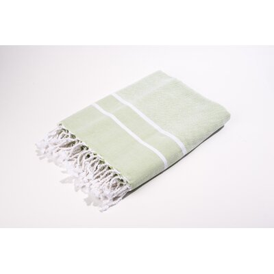 Fouta Herringbone Stripes Bath Towel Color: Green