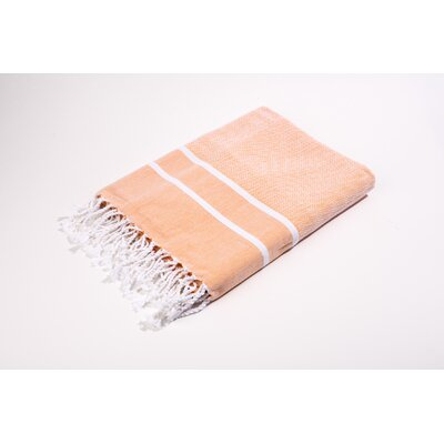 Fouta Herringbone Stripes Bath Towel Color: Salmon