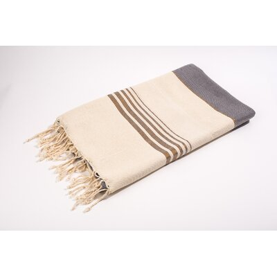 Fouta Bouclette Thin Stripes Bath Towel Color: Grey/White/Gold