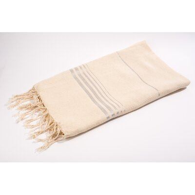 Fouta Bouclette Thin Stripes Bath Towel Color: White/Silver