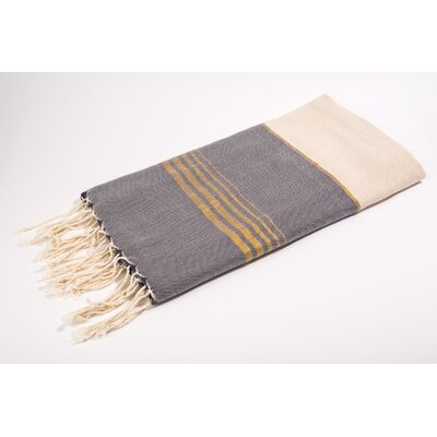 Fouta Bouclette Thin Stripes Bath Towel Color: White/Grey/Gold