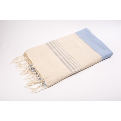 Fouta Bouclette Thin Stripes Bath Towel Color: White/Blue/Silver