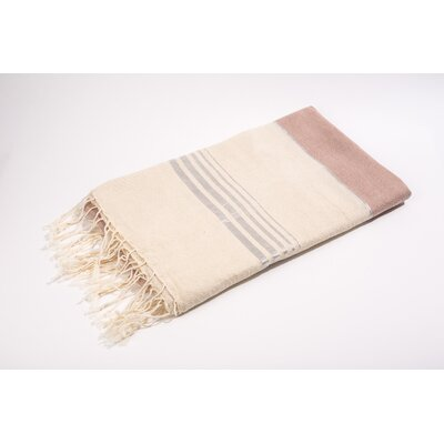 Fouta Bouclette Thin Stripes Bath Towel Color: White/Salmon/Silver
