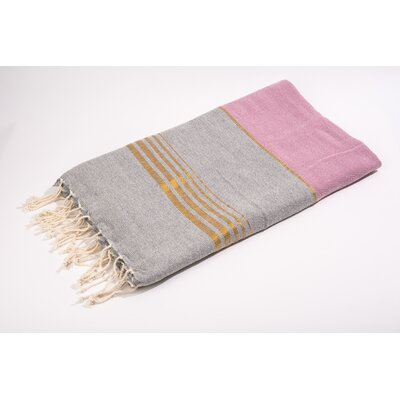 Fouta Bouclette Thin Stripes Bath Towel Color: Grey/Fushia/Gold