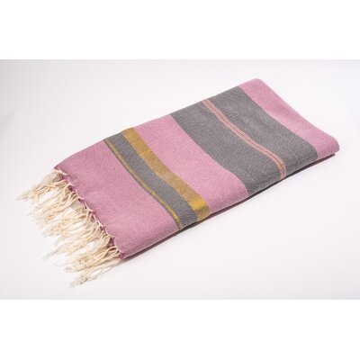 Fouta Bouclette Large Stripes Bath Towel Color: Dark Fushia/Grey/Gold
