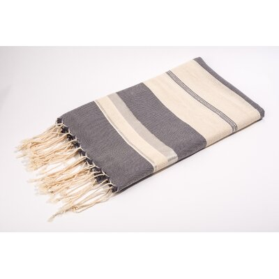 Fouta Bouclette Large Stripes Bath Towel Color: White/Grey/Silver