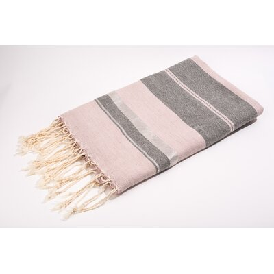 Fouta Bouclette Large Stripes Bath Towel Color: Rose/Grey/Silver