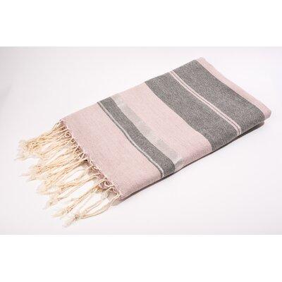 Fouta Bouclette Large Stripes Bath Towel Color: Rose/Grey/Silver