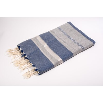Fouta Bouclette Large Stripes Bath Towel Color: Blue/Grey/Silver