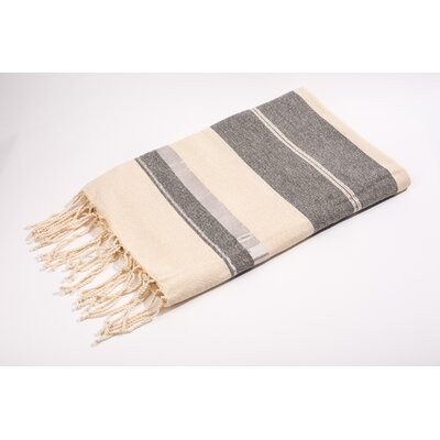 Fouta Bouclette Large Stripes Bath Towel Color: White/Light Grey/Silver