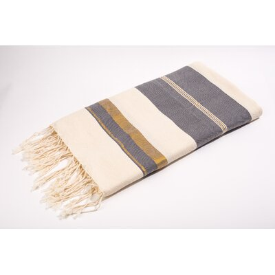 Fouta Bouclette Large Stripes Bath Towel Color: White/Grey/Gold