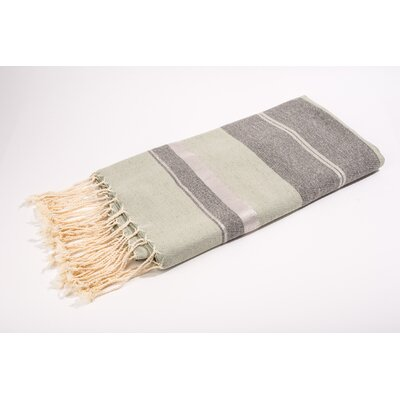 Fouta Bouclette Large Stripes Bath Towel Color: Mint/Grey/Silver