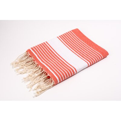 Fouta Canvas Weavy Stripes Bath Towel Color: Tangerine/White