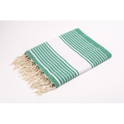 Fouta Canvas Weavy Stripes Bath Towel Color: Green/White