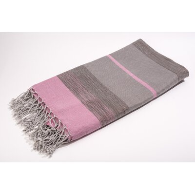 Bouclette Bands Bath Towel Color: Solid/Shine Rose/Grey