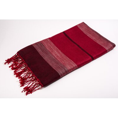 Bouclette Bands Bath Towel Color: Solid/Shine Red/Burgundy