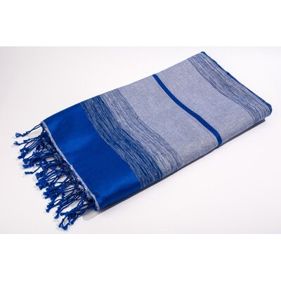 Bouclette Bands Bath Towel Color: Solid/Shine Blue/Serenity