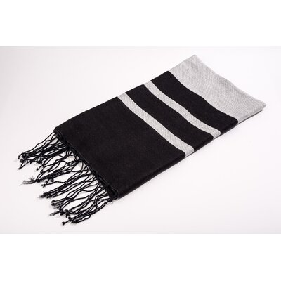 Fouta Shine Extra Soft Bath Towel Color: Grey/Black