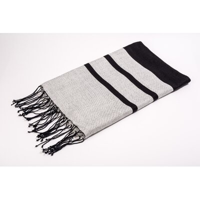 Fouta Shine Extra Soft Bath Towel Color: Black/Grey