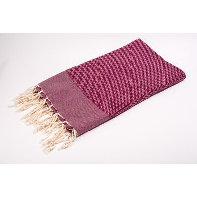 Fouta Herringbone Extra Soft Bath Towel Color: Bordeaux