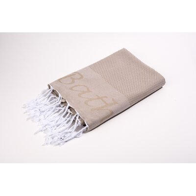Fouta Embroidered Bath Towel Color: Beige
