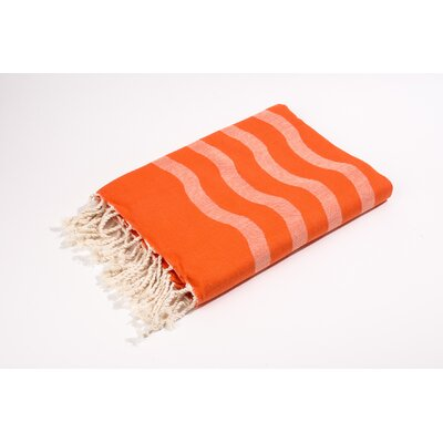 Fouta Soft Canvas Wave Stripes Bath Towel Color: Tangerine
