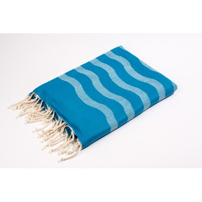Fouta Soft Canvas Wave Stripes Bath Towel Color: Turquoise