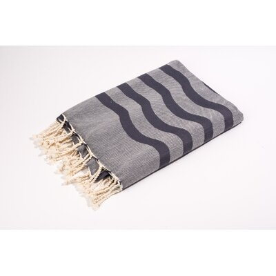Fouta Soft Canvas Wave Stripes Bath Towel Color: Grey