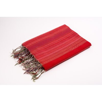Fouta Vertical Stripes Bath Towel Color: Red