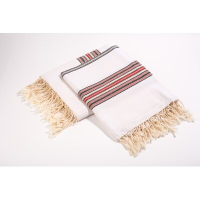 Fouta Bayadere Stripes Bath Towel Color: White