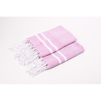 Herringbone Stripes Hand Towel Color: Pink