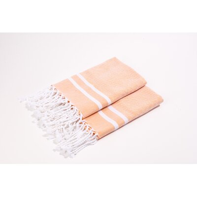 Herringbone Stripes Hand Towel Color: Salmon