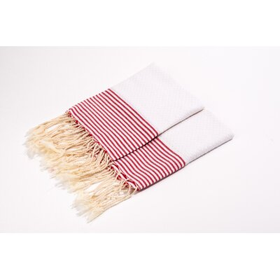 Thin Stripes Hand Towel Color: White/Red