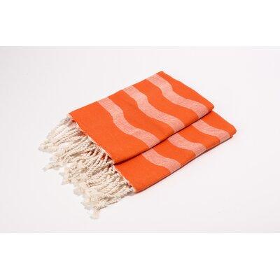 Soft Canvas Wave Hand Towel Color: Tangerine