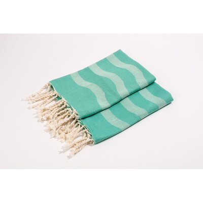 Soft Canvas Wave Hand Towel Color: Aqua