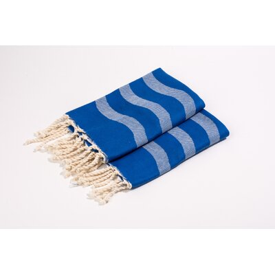 Soft Canvas Wave Hand Towel Color: Blue