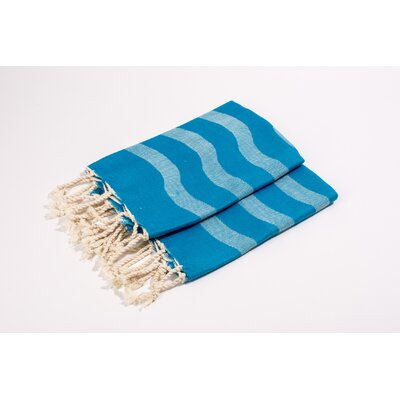 Soft Canvas Wave Hand Towel Color: Turquoise