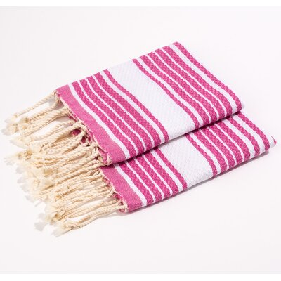 Hand Towel Color: Fushia/White