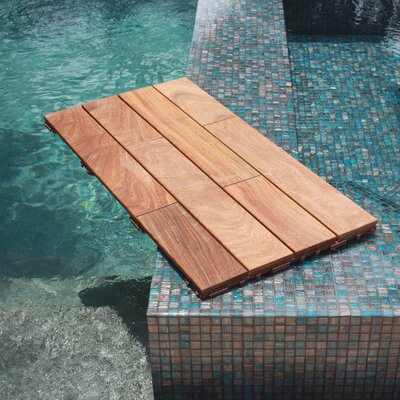 Variant 4 Slat 18 x 36 Hardwood Interlocking Deck Tiles in Champagne