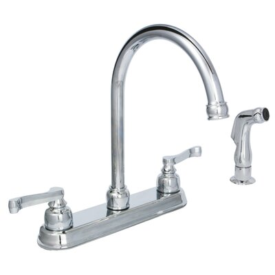 Sienna Double Handle Standard Kitchen Faucet with Side Spray Finish: Chrome