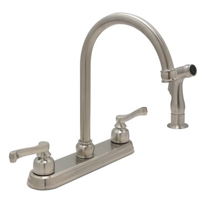 Sienna Double Handle Standard Kitchen Faucet with Side Spray Finish: Satin Nickel