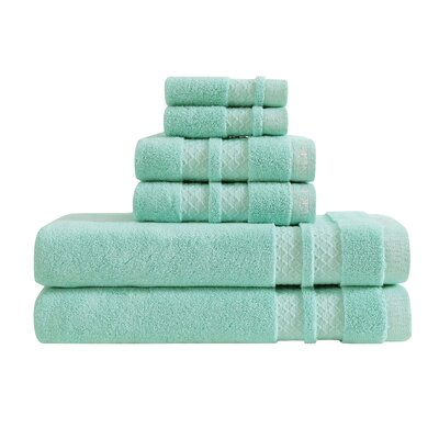 Zero Twist 6 Piece Towel Set Color: Aruba Blue