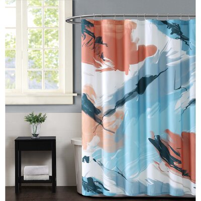Capri Shower Curtain Color: Coral