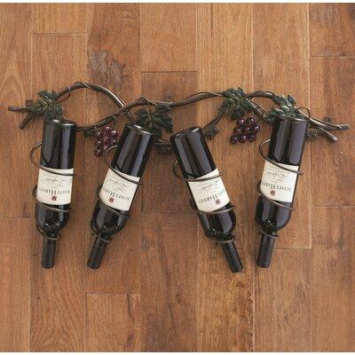 Grapevine 4 Bottle Wall Mounted Wine Bottle Rack
